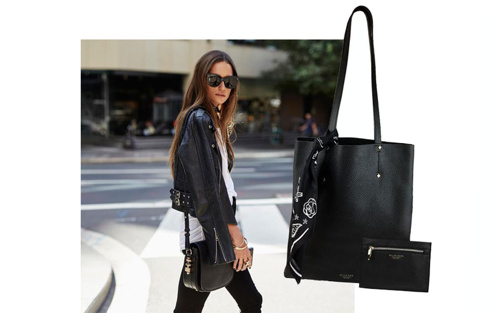 THE LOVETTE SHOULDER BAG - THE CROSS TOTE WITH POUCH & SILK SCARF